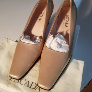 Escada Beige Patent Leather Pumps - NEW